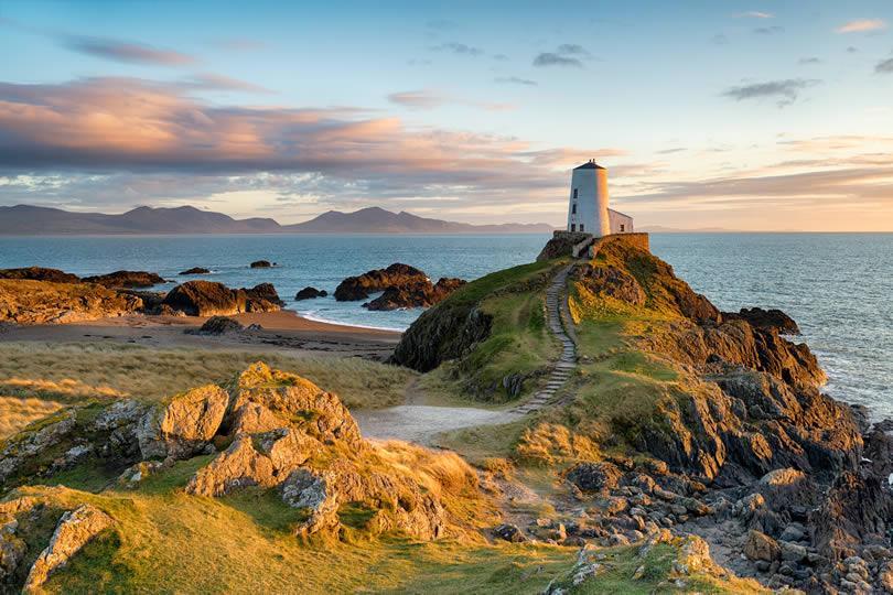 Ynys Llanddwyn island on the coast of Anglesey in North Wales