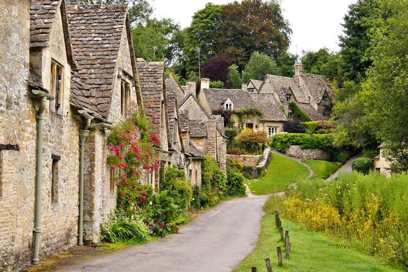 the town of Bibury in the Cotswolds England