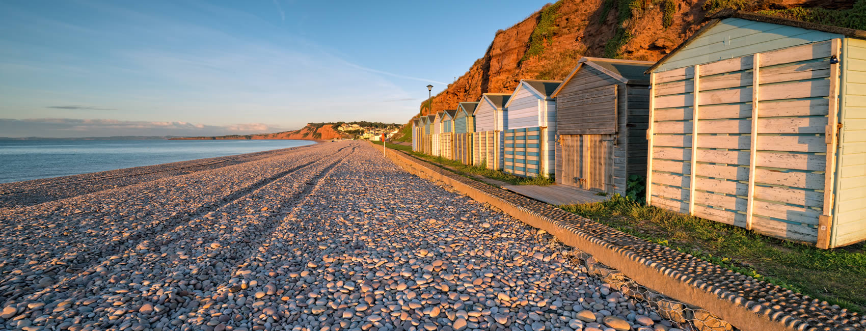 Budleigh Salterton Beach rocks and huts