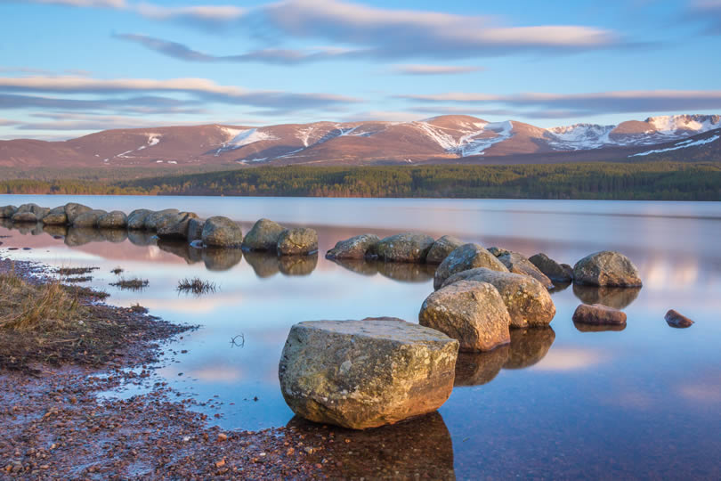 Loch Morlich in Cairngorms National Park Scotland
