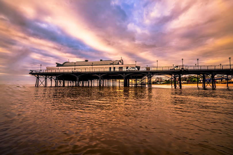 Cleethorpes pier at dusk