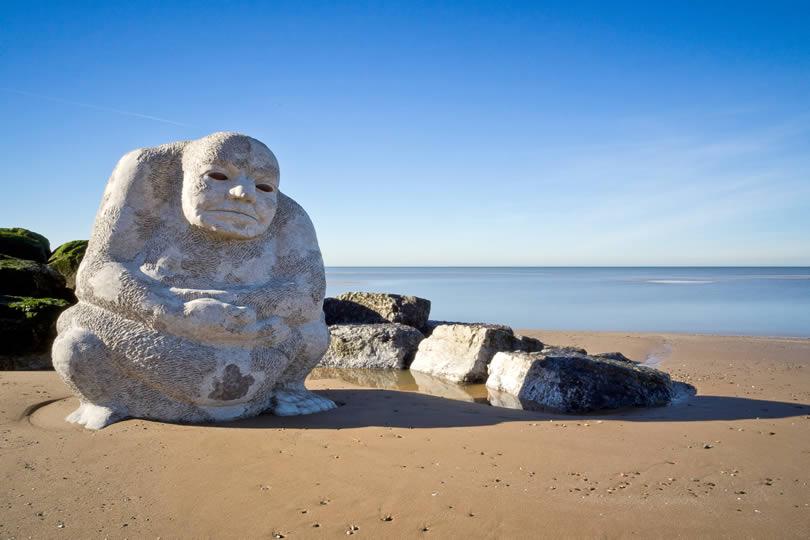 Cleveleys public art on beach