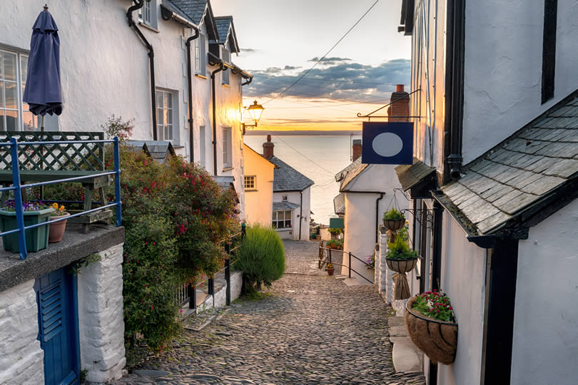 Cobbled steep hill street at Clovelly on the Devon coast