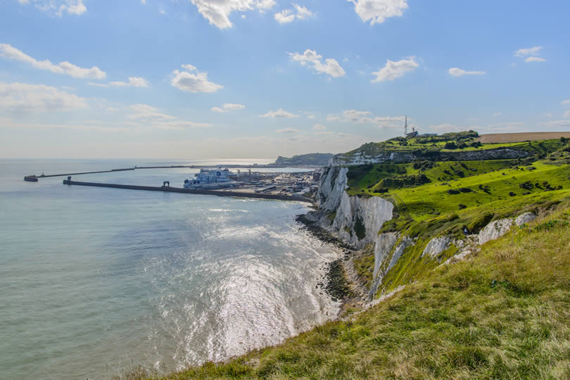 Dover white cliffs and harbour view