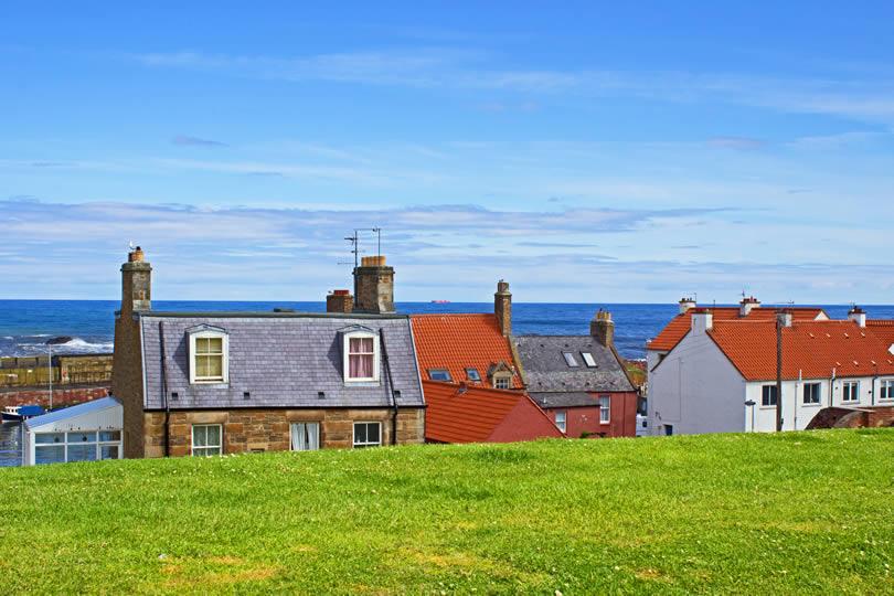 Dunbar village houses in Scotland