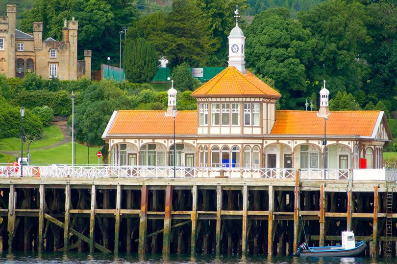 Dunoon pier Victorian buildings