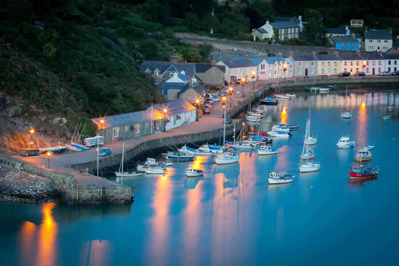 Fishguard Pembrokeshire Wales in the evening