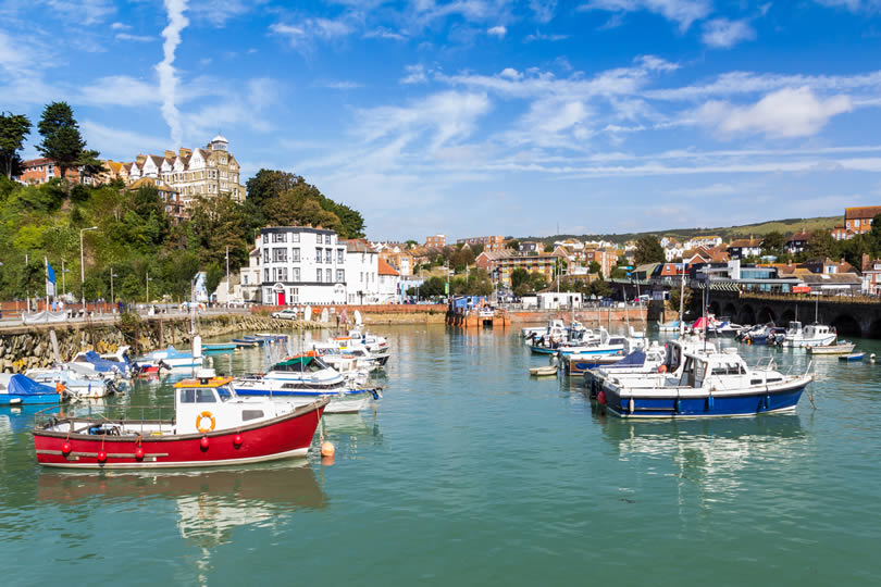 Folkestone fishing harbour in England