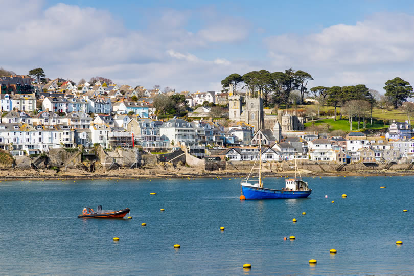 Fowey town centre and fishing boat