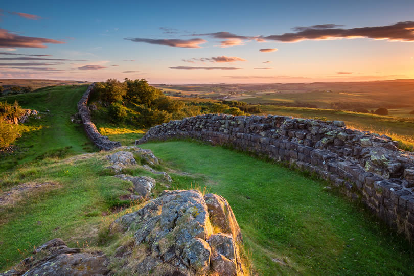 Hadrian's Wall near Walltown in Northumberland National Park