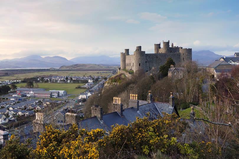 Harlech Castle in Gwynned Wales