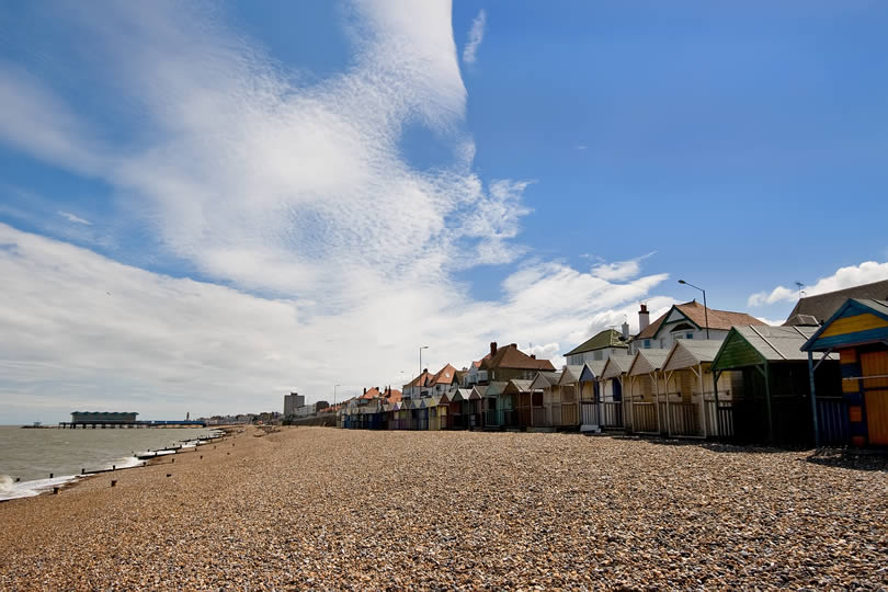 Herne Bay beach huts and seafront houses