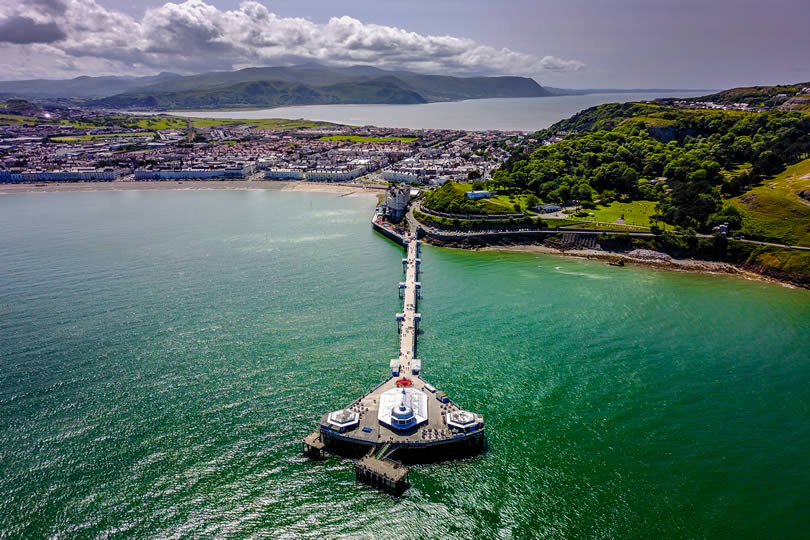 Llandudno aerial view of town and pier