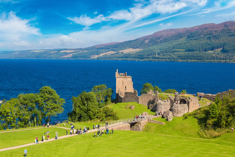 Urquhart Castle at Loch Ness lake in Scotland