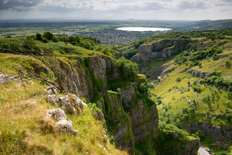 Cheddar Gorge cliffs in Mendip limestone Hills in Somerset UK