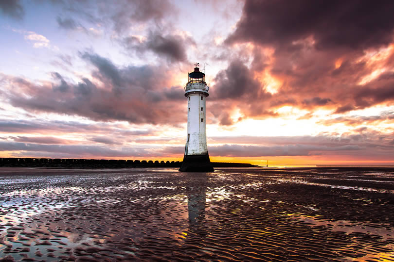 New Brighton Beach lighthouse in England