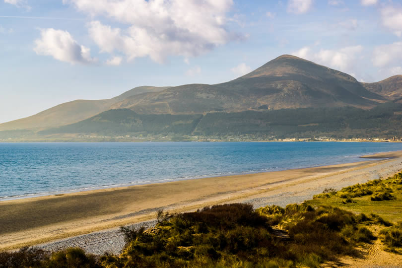 Newcastle Northern Ireland beach and Mourne mountains
