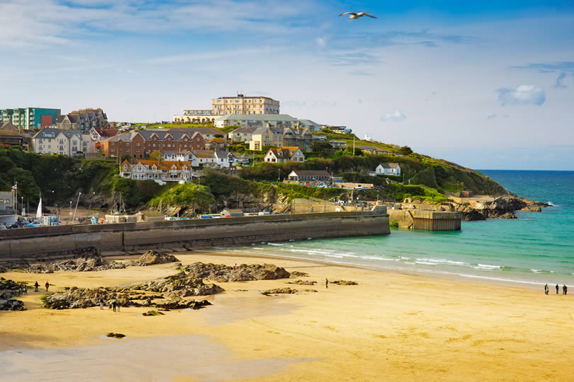 Newquay beach and town in Cornwall