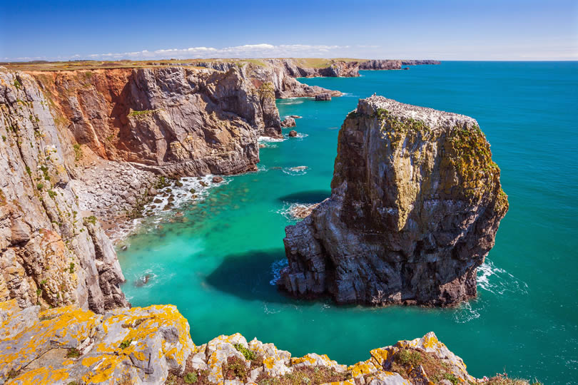 Stack Rocks on coastline in Pembrokeshire National Park Wales