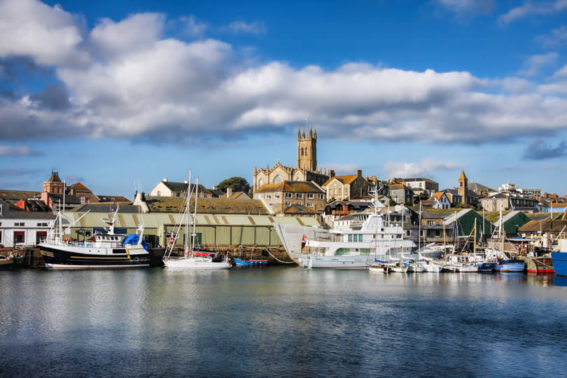 Penzance harbour and town