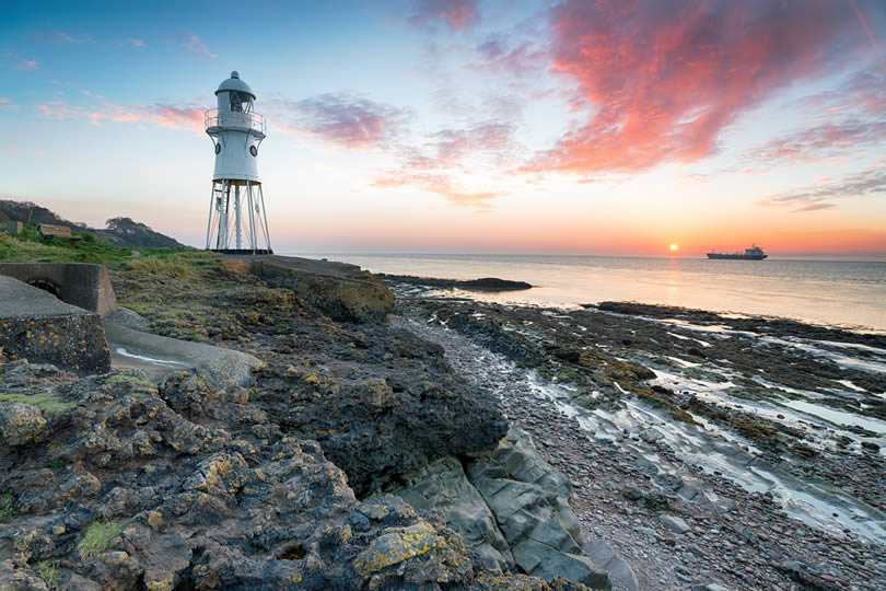Portishead Black Nore lighthouse at sunset