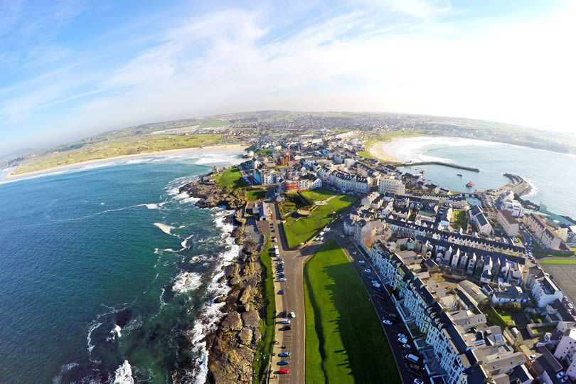 Portrush aerial view of town, harbour and beach
