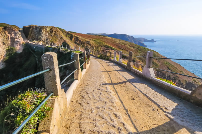 La Coupée causeway joining Great Sark and Little Sark in the Channel Islands