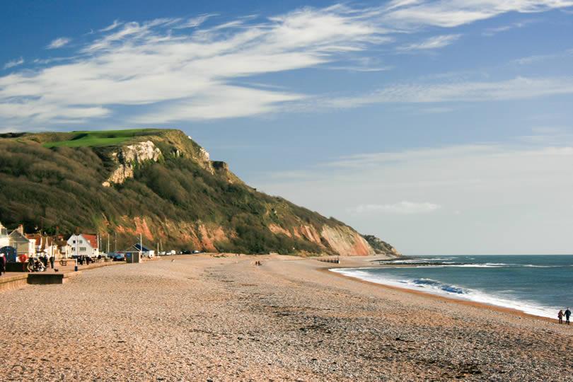 Seaton beach in Devon England