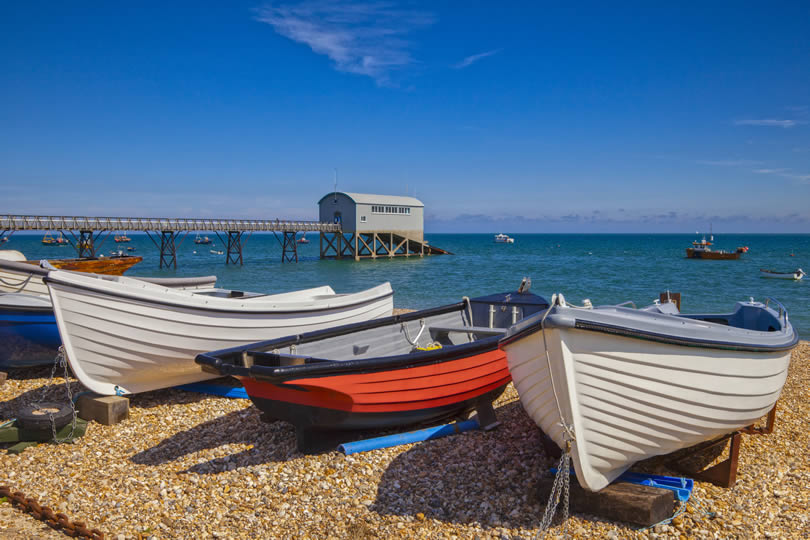 Selsey small fishing boats and pier