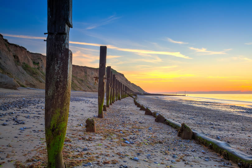 Lovely sunset at Sheringham beach in England