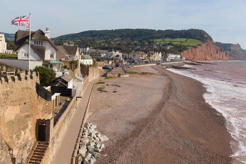 Sidmouth seafront and ocean