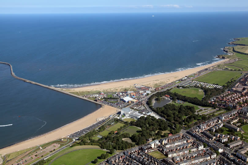 South Shields aerial view of town