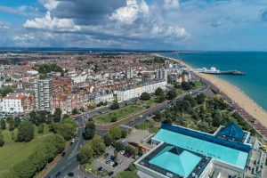 Aerial view of Southsea near Portsmouth Hampshire