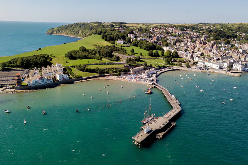 Swanage aerial view of town and pier