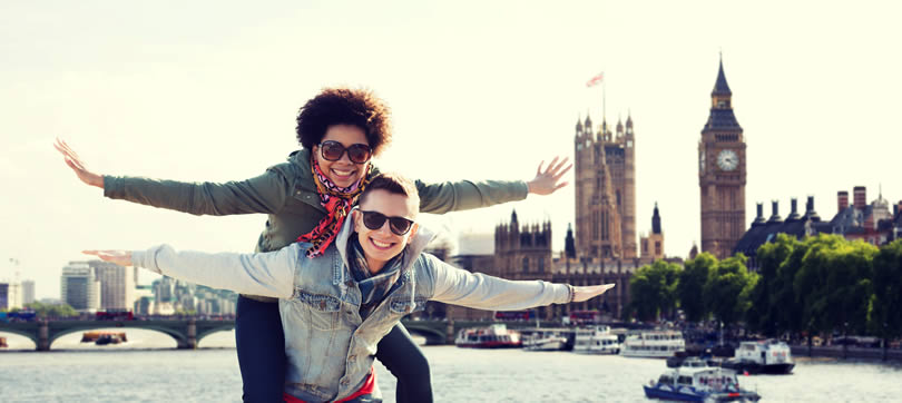Happy teens travelling in London