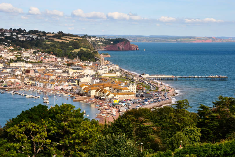 Teignmouth town and seaview