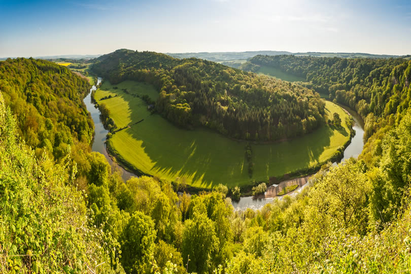 Wye Valley and River landscape on the border of England and Wales