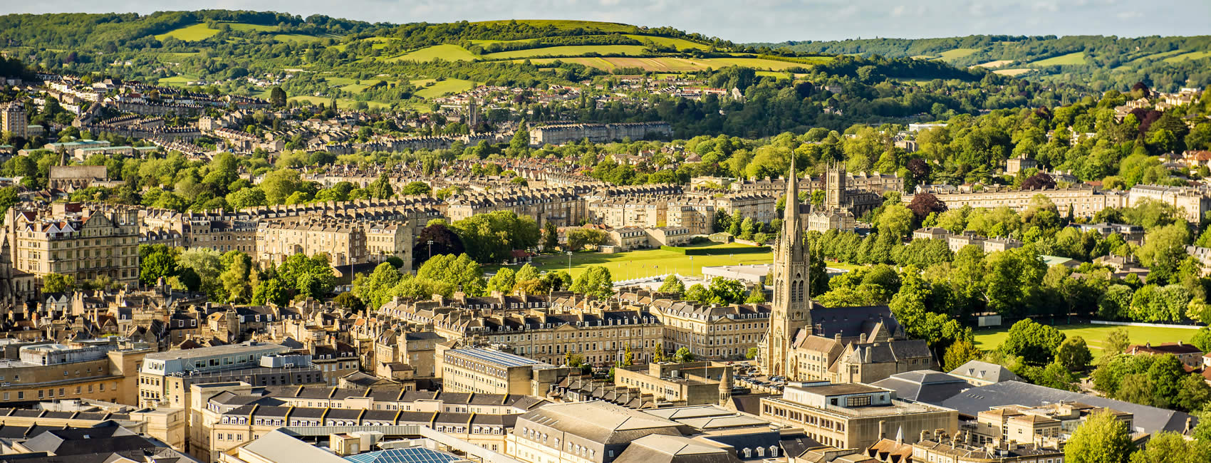 Aerial view of Bath in Somerset