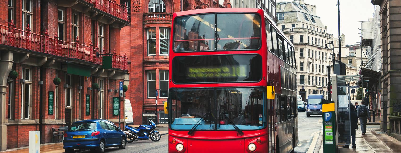 Central Birmingham red bus in traffic