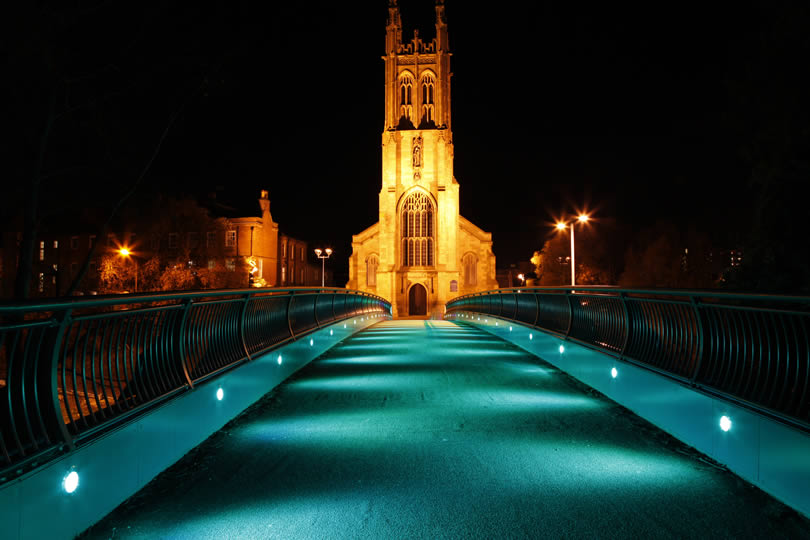 View of Derby Cathedral at night