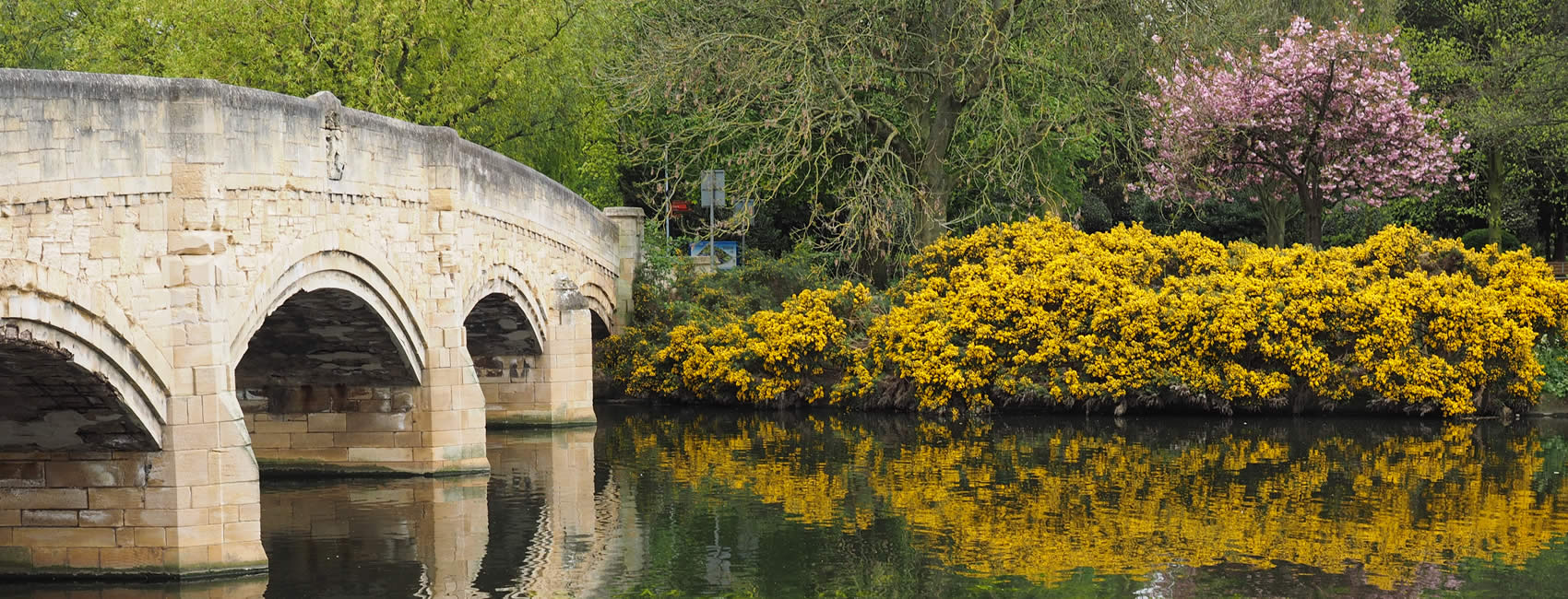 Leicester view of bridge in Abbey Park