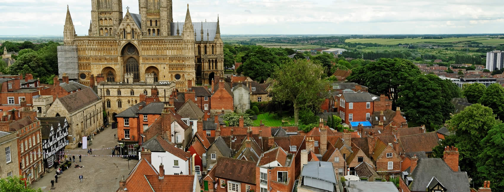 aerial view of the city of Lincoln in East Midlands
