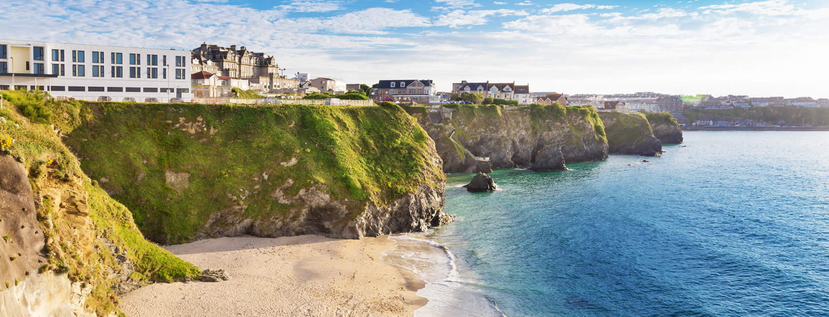 Town and beach in Newquay Cornwall