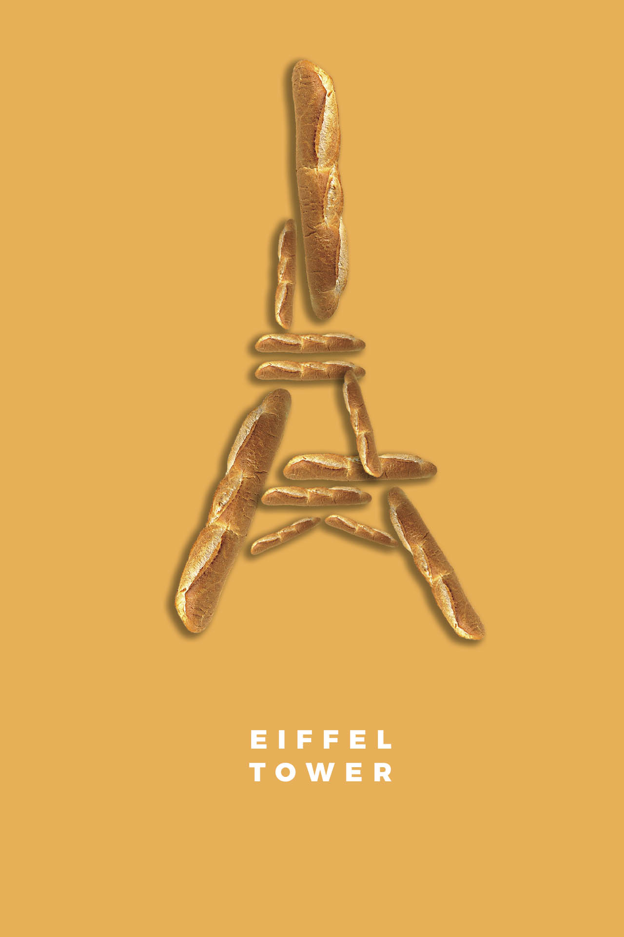 Eiffel Tower in Paris France baguette food illustration