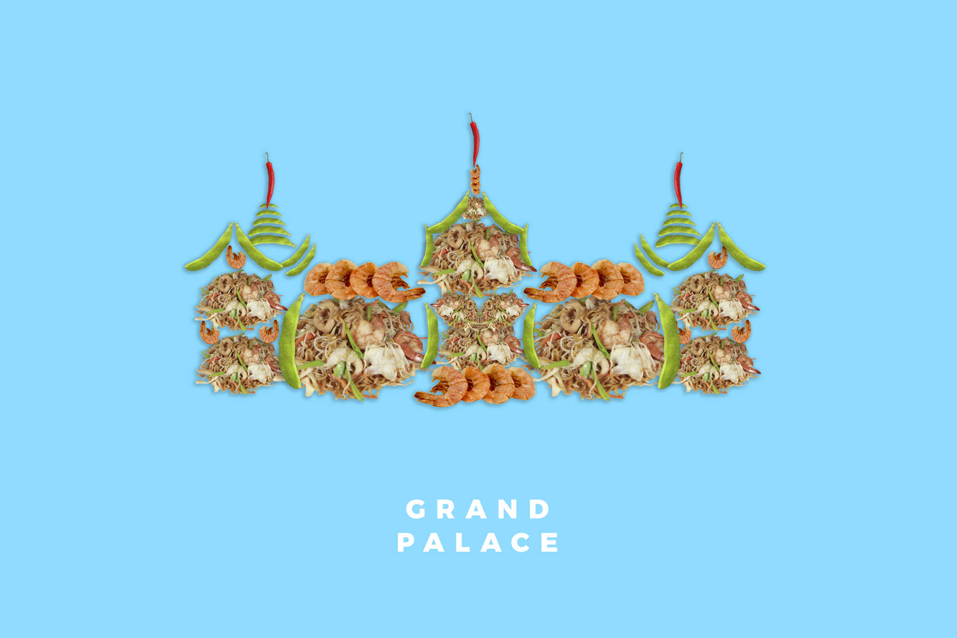 Grand Palace in Bangkok Thailand food illustration