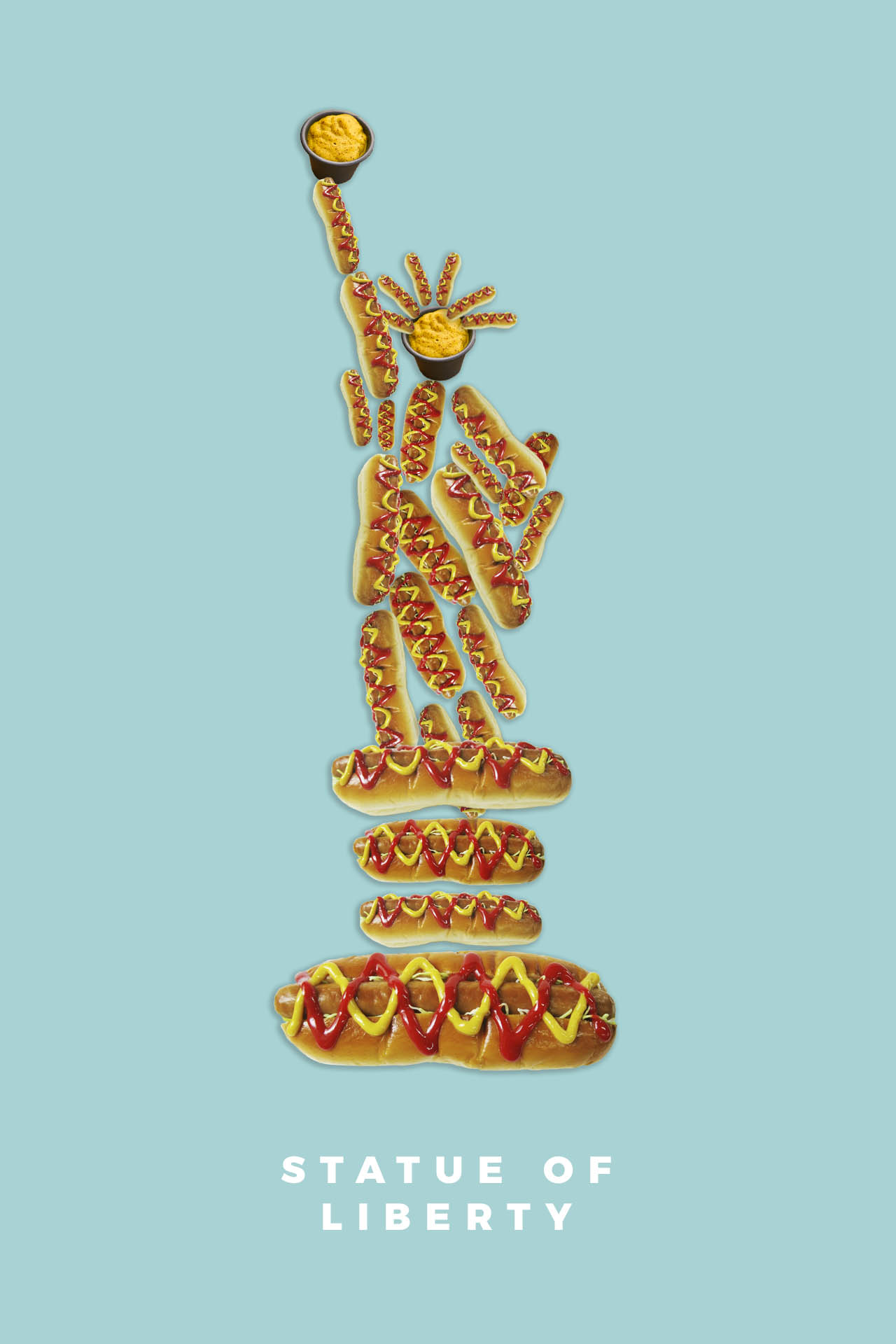 Statue of Liberty hot dog food illustration