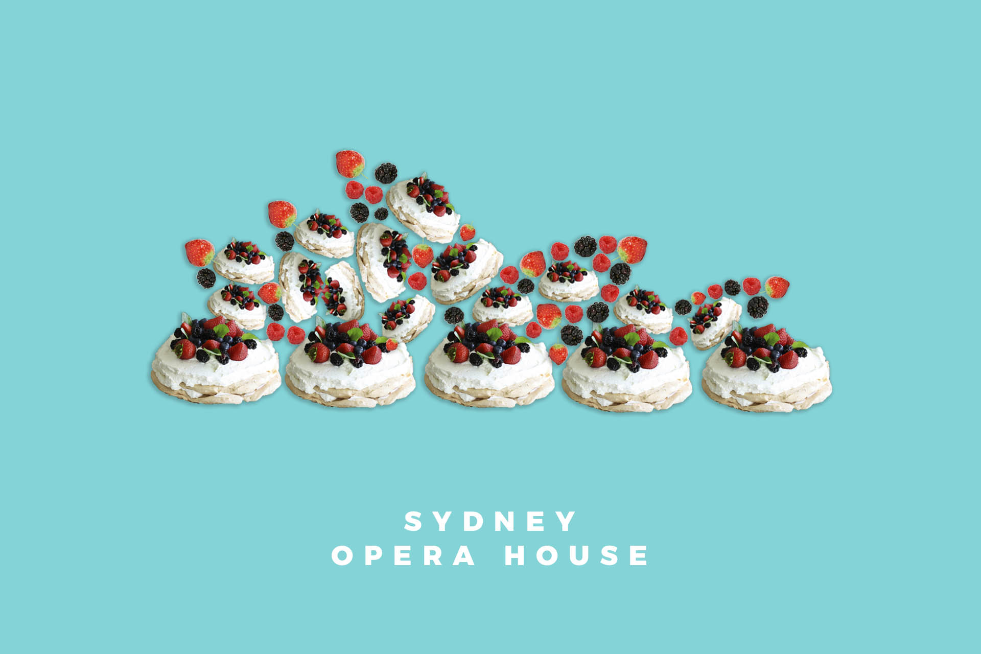 Sydney Opera House pavlova food illustration