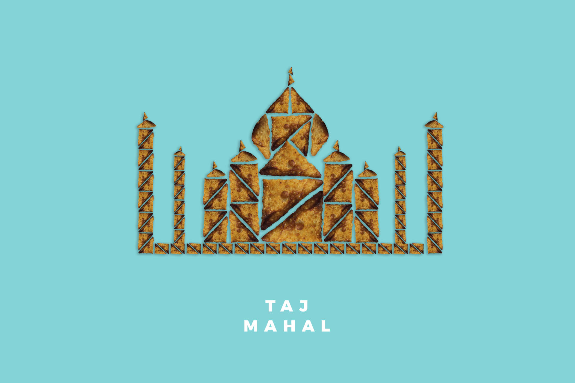 Taj Mahal in Agra India Samosas food illustration